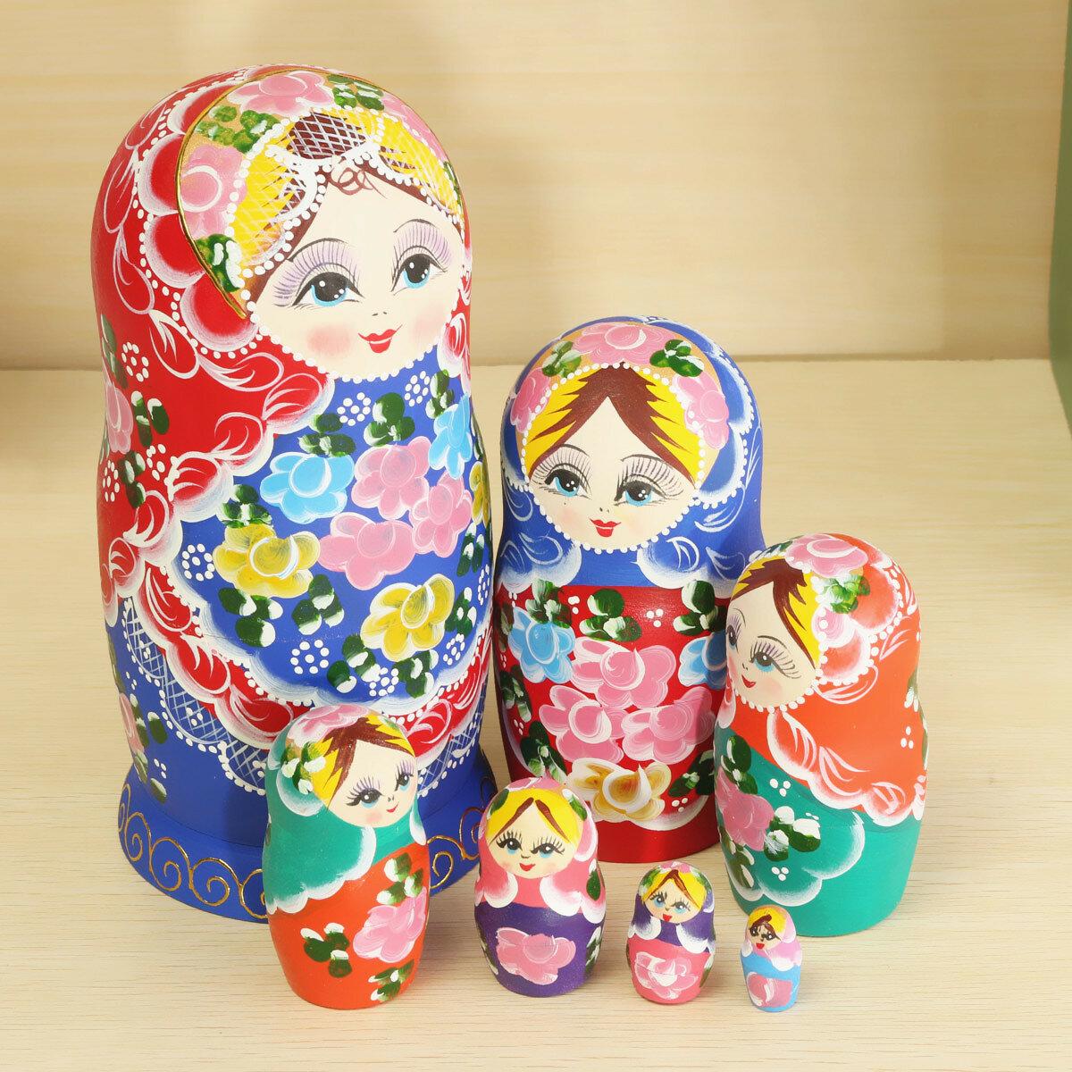 Matryoshka conjunto de 7 muñecas de la jerarquización locura ruso juguete muñecas de madera