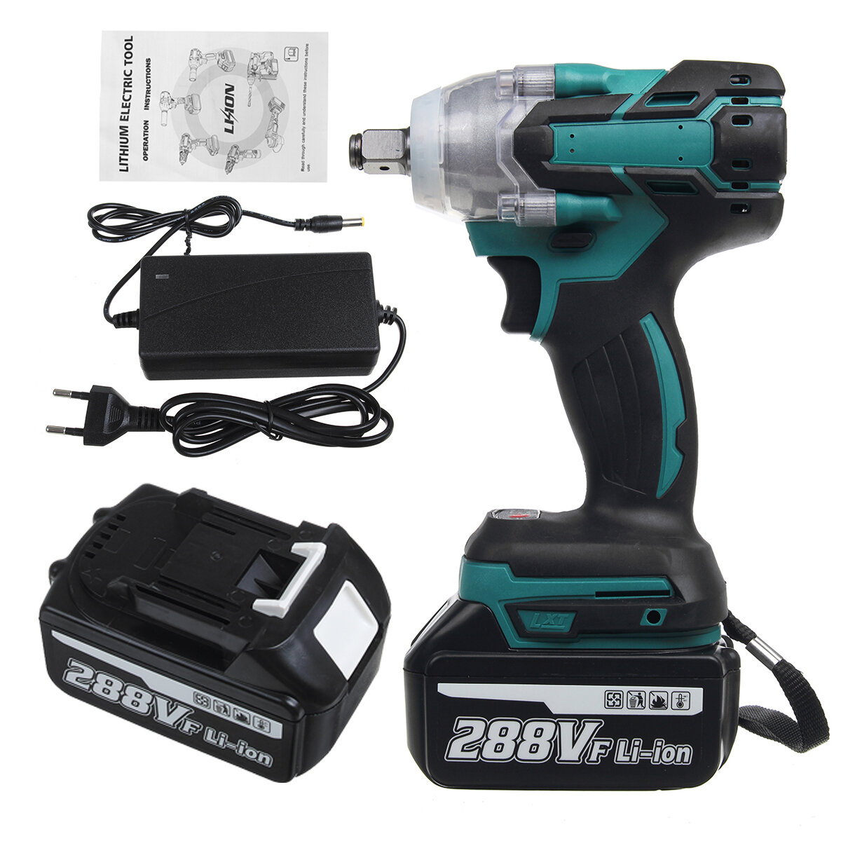 VIOLEWORKS 288VF 1/2'' Electric Cordless Brushless Impact Wrench With 1/2 Battery