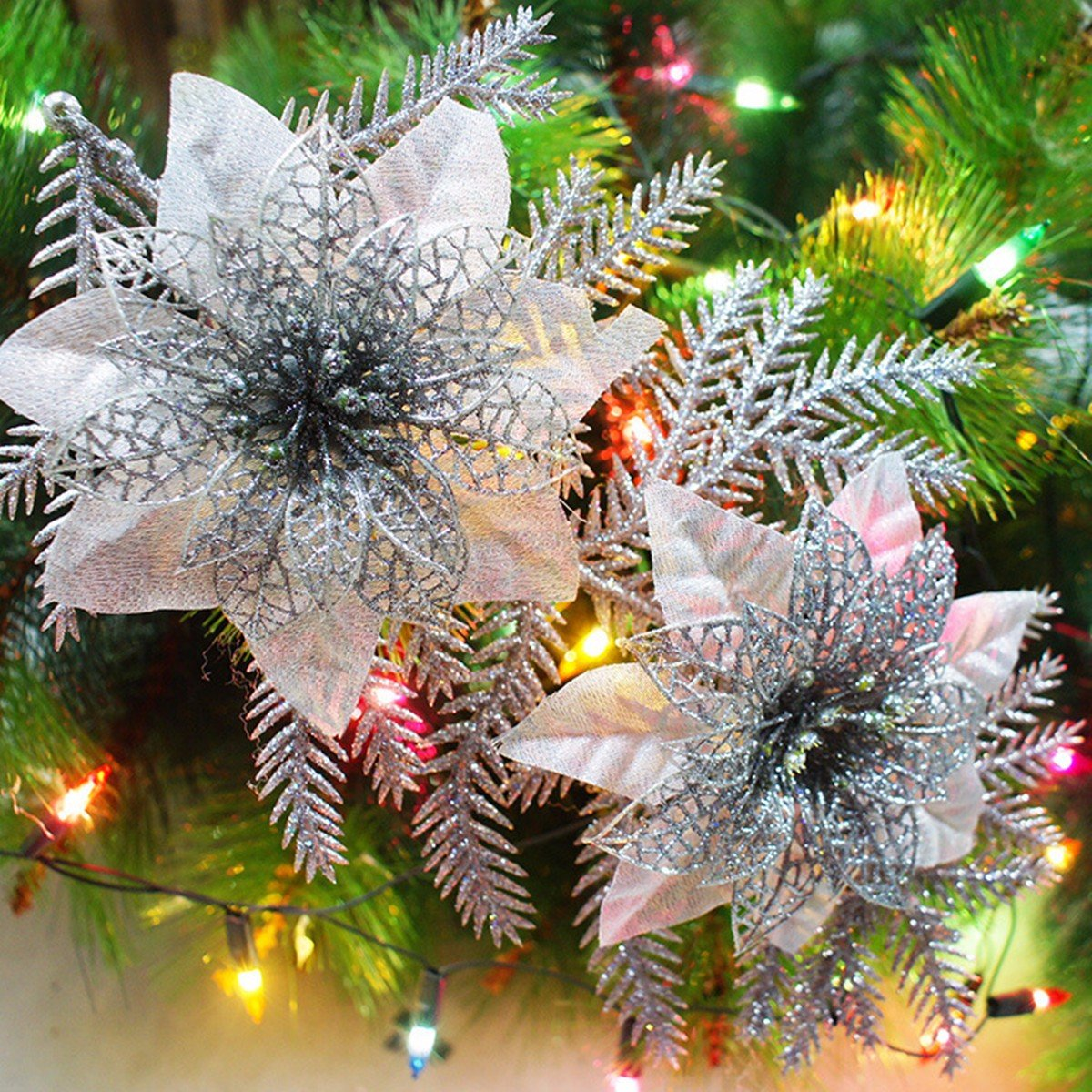 Artificial Christmas Flowers.Glitter Artificial Christmas Tree Flowers Ornament Pendant Xmas Party Decoration