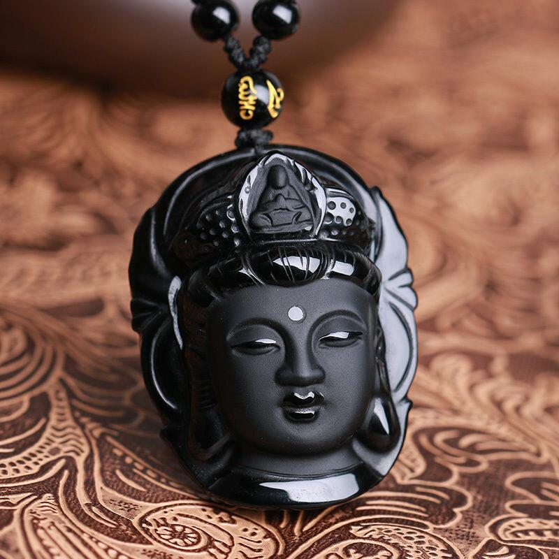 Natural Hitam Obsidian Kwan-yin Pendant Charm Kalung Beruntung Perhiasan Kolokasi Pakaian