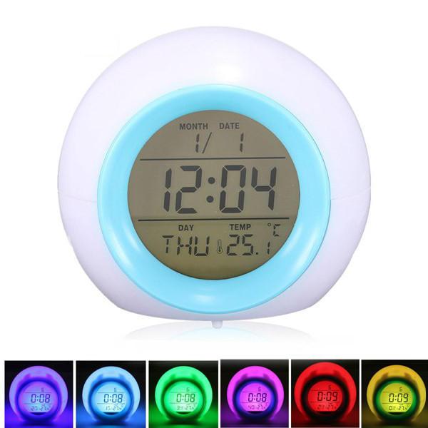 7 Color LED Glowing Change Temperature Sound Digital Alarm Clock