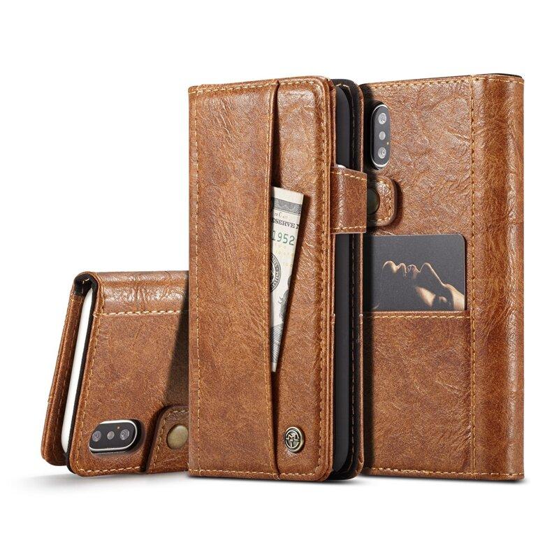 Caseme Vintage Wallet Card Slots PU Lærveske Til iPhone X