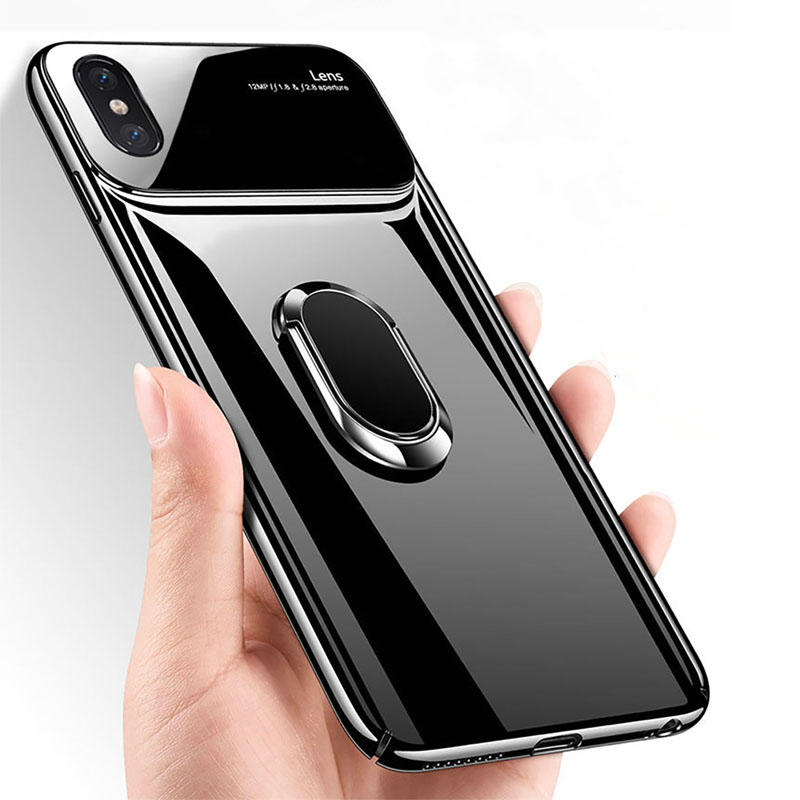 low cost 139c4 eb6e4 Bakeey 360º Rotation Ring Grip Kickstand Tempered Glass Lens Protection PC  Protective Case For iPhone X/XR/XS/XS Max