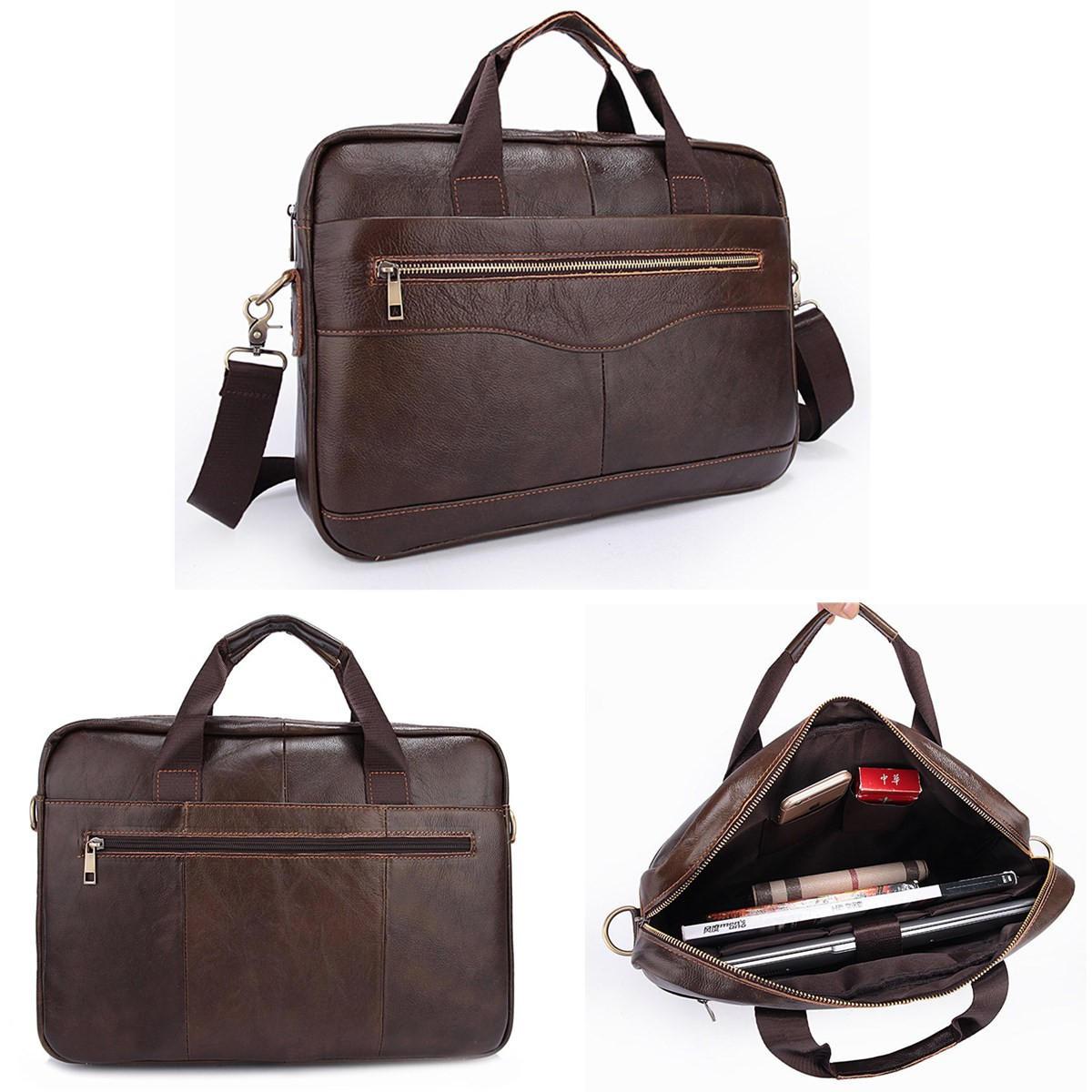 Men Briefcases Handbag Doent Business Office Laptop Bag Leather Male Work Brown