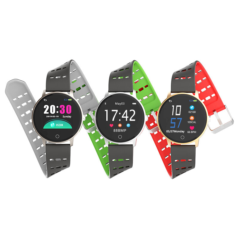 Bakeey V5 Weather Push Heart Rate Blood Pressure Oxygen Monitor Multi-sport Modes Colorful Silicone Smart Watch