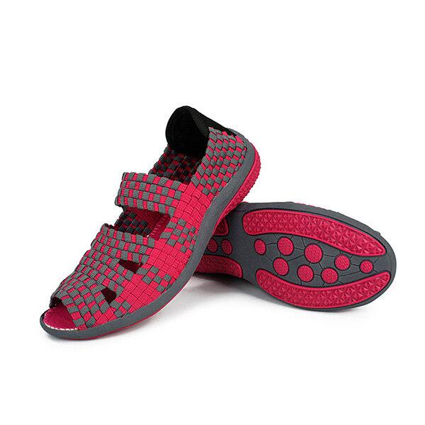 נשים קיץ אלסטי לסרוג נעלי פנאי סנדלים שטוחים לסרוג נעלי אצבע