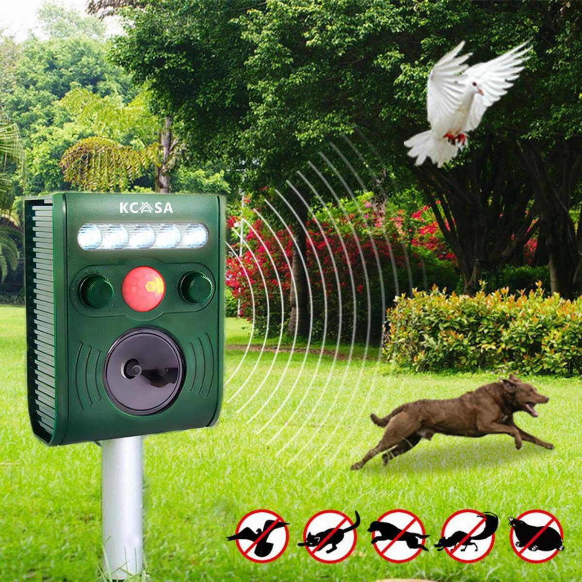 KCASA KC-JK369 Sensore PIR ad Ultrasuoni Giardino Strumento Repellente per Animale Uccelli con Forte Luce Lampeggia