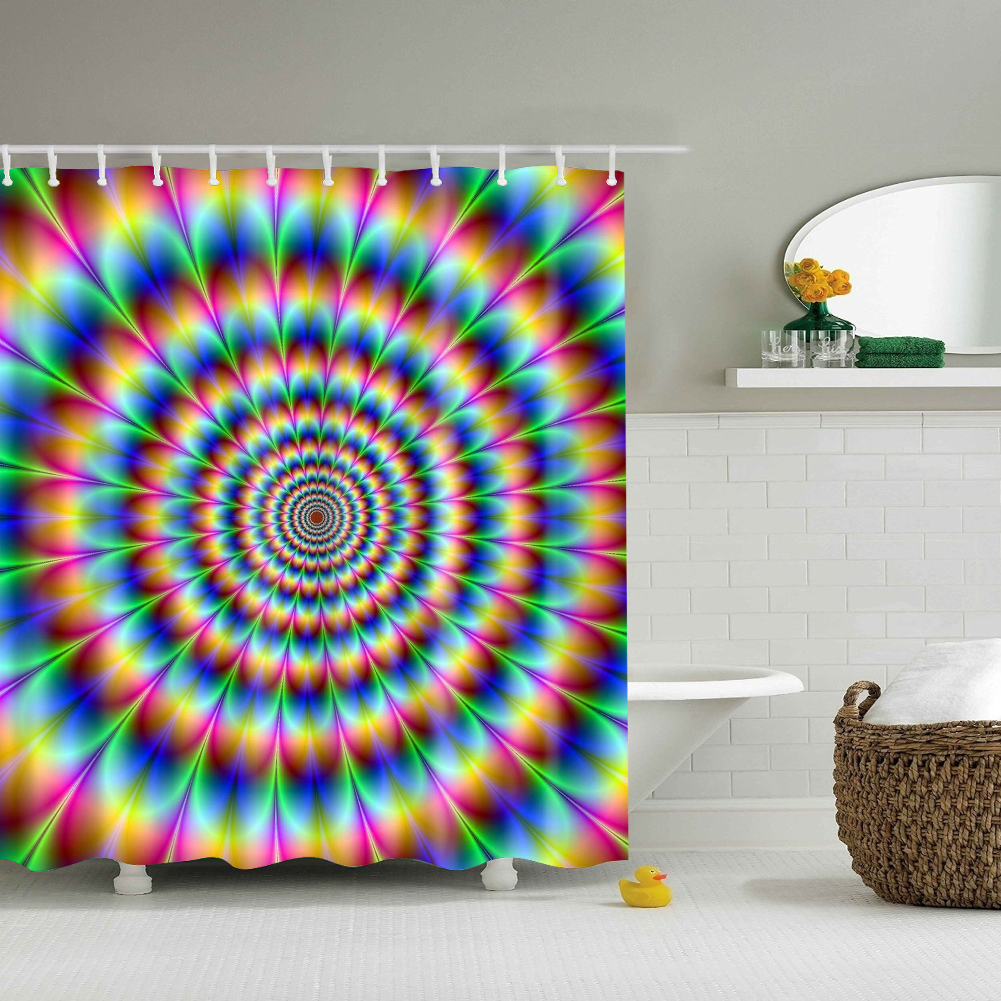 Dazzling Design Colorful Pattern Bathroom Waterproof Polyester Fabric Shower Curtain