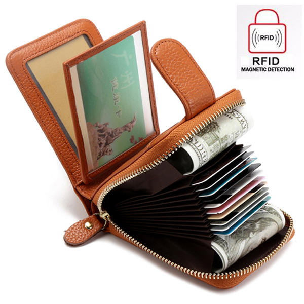 Men And Women Trifold Genuine Leather Wallet Purse Casual Card Holder Coin Bag