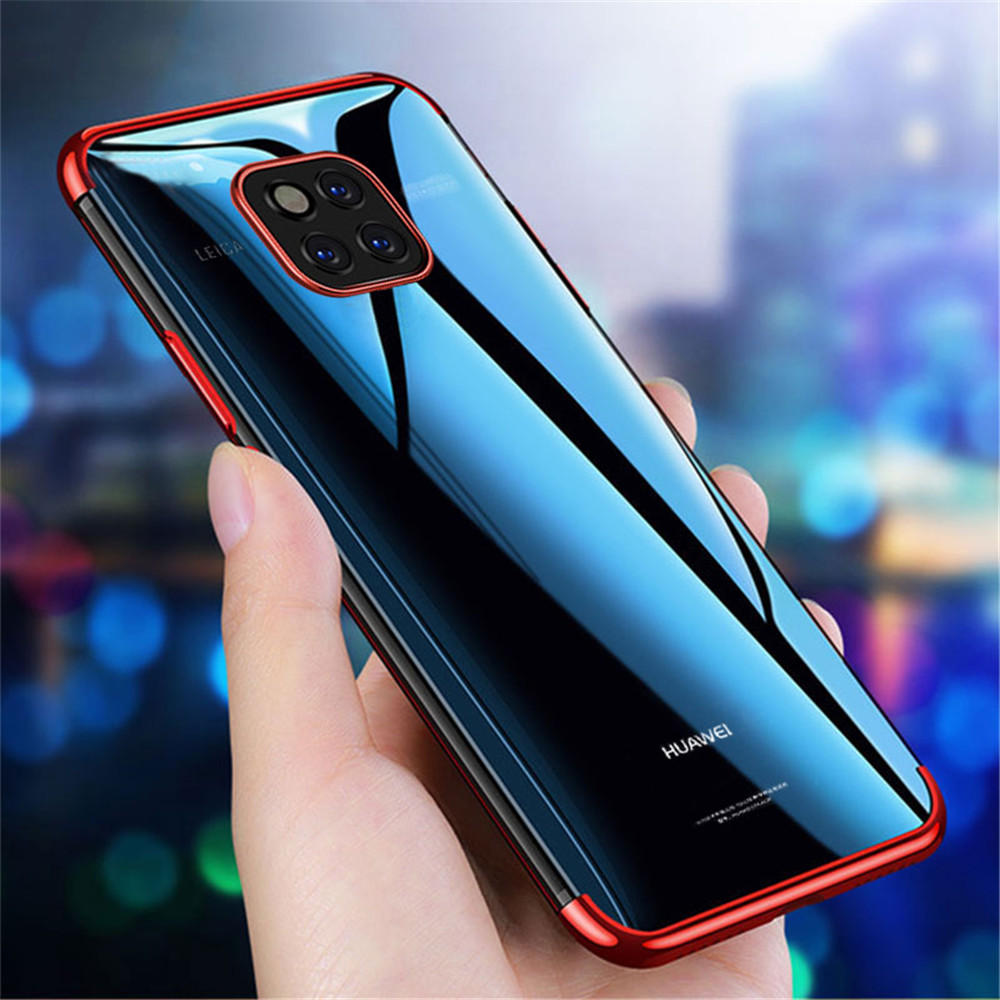on sale 48500 e3cc4 Bakeey Transparent Plating Soft TPU Back Cover Protective Case for Huawei  Mate 20 Pro