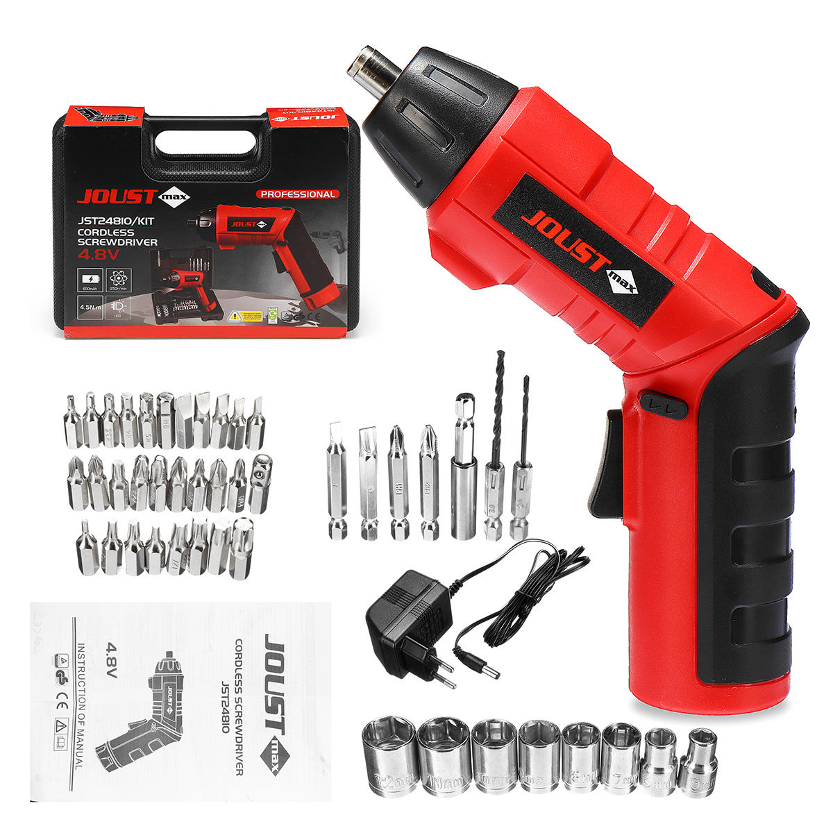 45 In 1 Kit 4.8V Cordless Electric Screwdriver Power Drills Tool Bit Set with Charger/Case