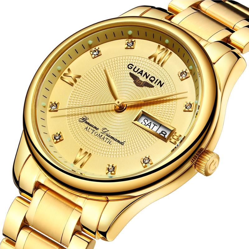 GUANQIN GJ16050 Lyxig Män Mekanisk Klocka Guld Fin Stål Rem Automatisk Armbandsur
