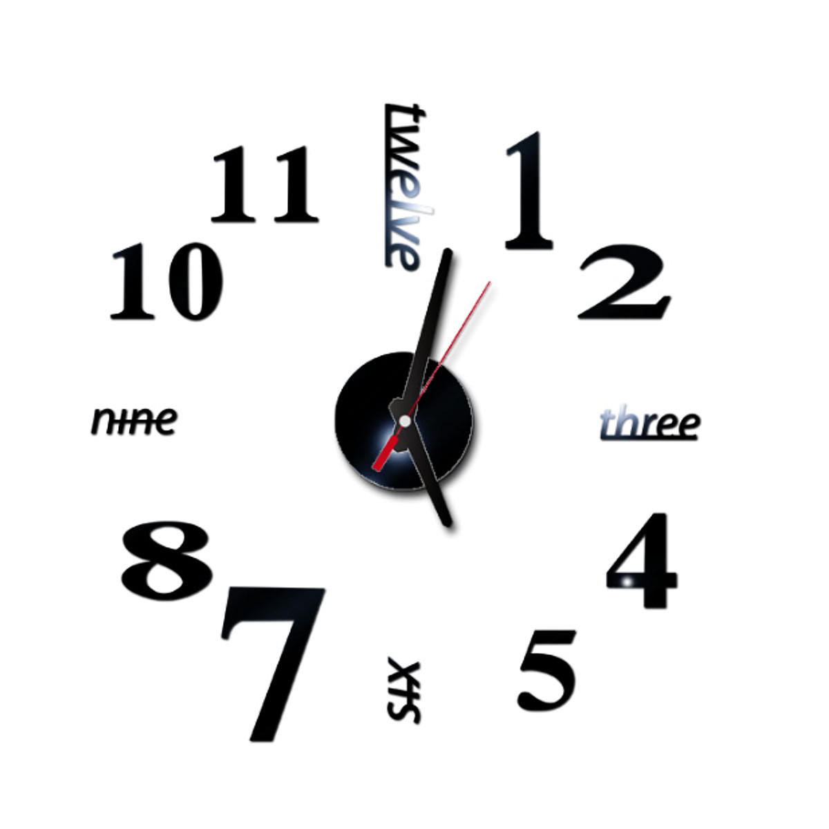 40cm Modern 3D Frameless Wall Clock Style Watches Hours DIY Room Home Decorations Model