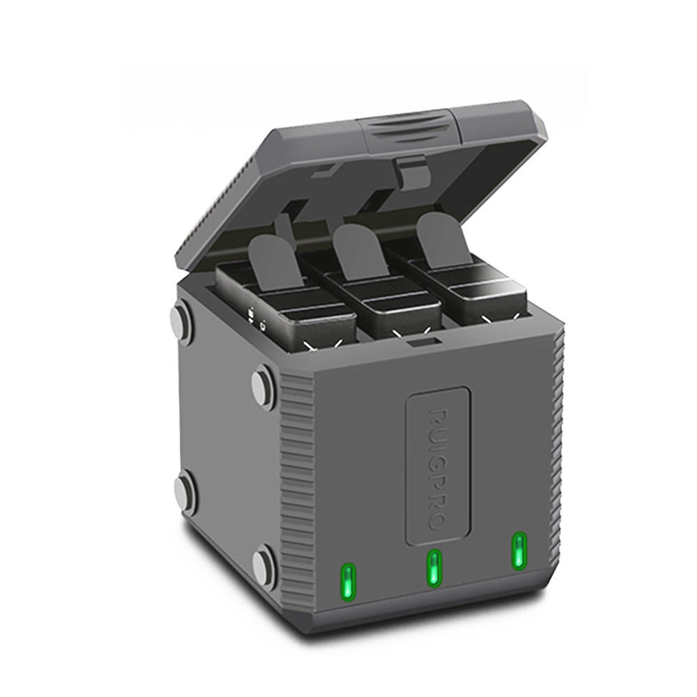3-Way Slot Battery Charger LED Charging Box Carry Case Battery Housing for GoPro Hero 7 6 5 Accessories