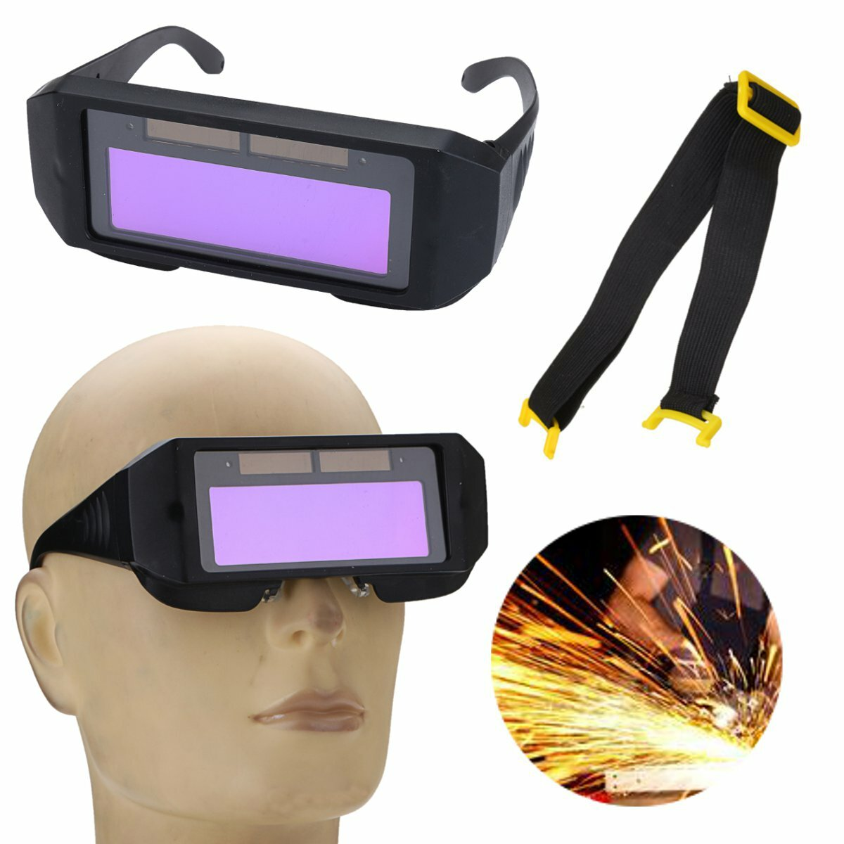 Solar Powered Auto Darkening Welding Mask Helmet Eyes Goggle Two-way Glasses