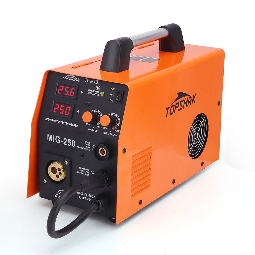 ماكينة لحام Tophak MIG-250 3 في 1 MIG ARC TIG لحام 40-250A 220 فولت آلة لحام 0.6-1.0 مللي متر تدفق النواة مع MIG Torch