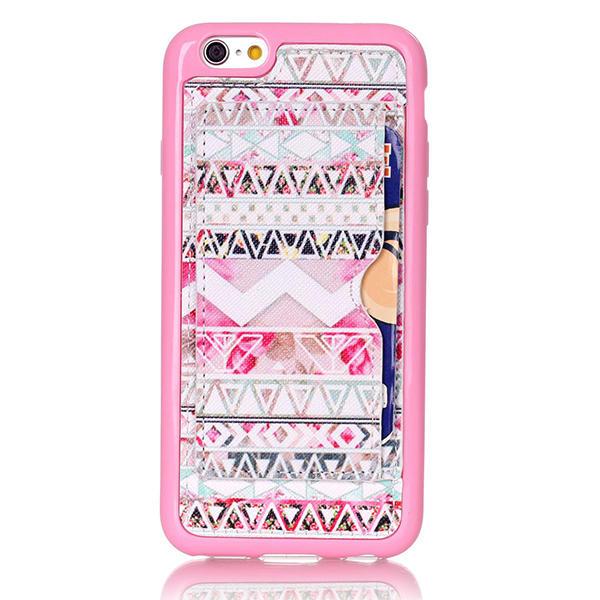 Pink Stamme Mønster Back Holder Case For iPhone 6 6s