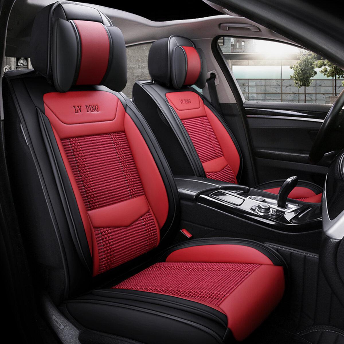 यूनिवर्सल शीर्ष Mircrofiber लेदर 5-सीट्स कार एसयूवी सीट कवर फ्रंट रियर कुशन