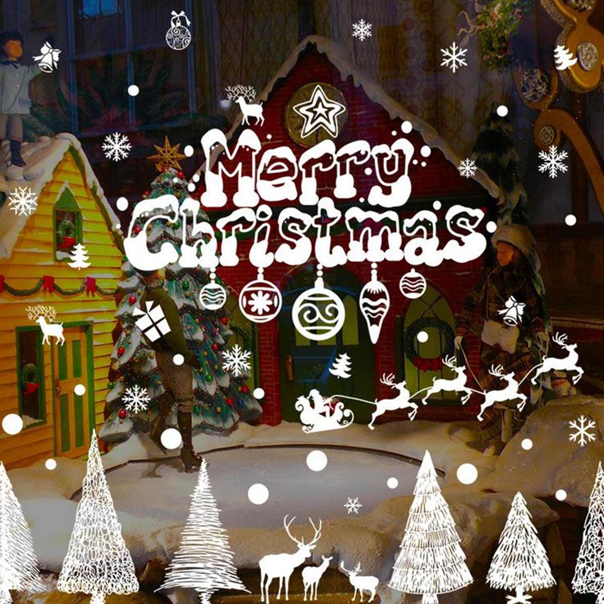 Merry Christmas Pencere Sticker Kar Tanesi Ren Geyiği Ağacı Duvar Ev Mağaza Dekorasyonu Duvar Sticker