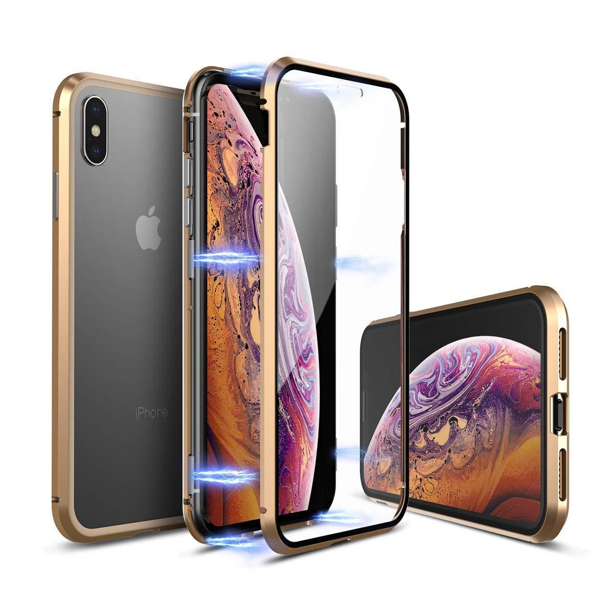 on sale 0bd98 90148 Luphie 360º Front Screen Protector & Back Glass Cover Metal Magnetic  Adsorption Case For iPhone XR/XS/XS Max/X/7/7 Plus/8/8 Plus