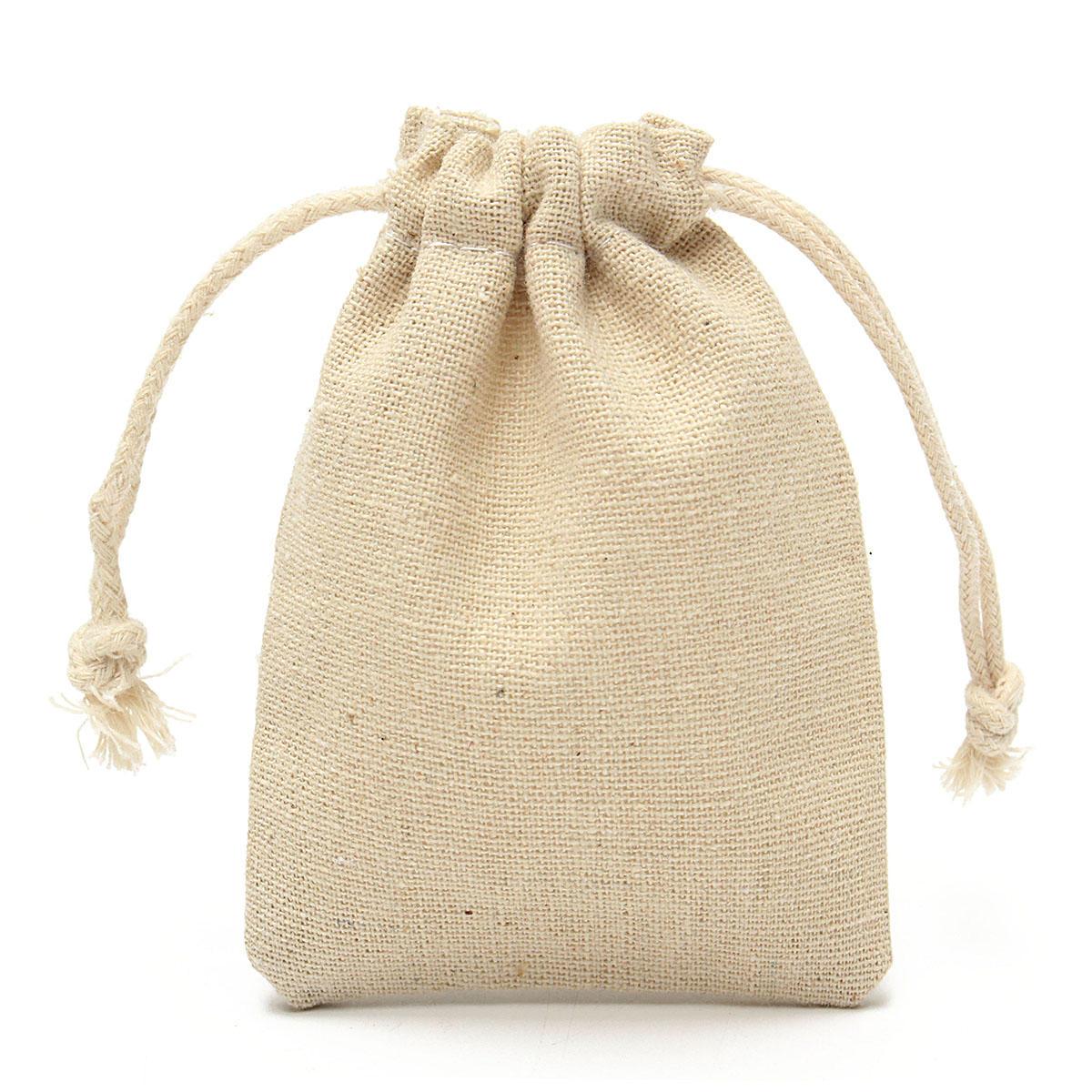 30pcs Natural Linen Pouch Burlap Jute Sack Jewelry Drawstring Gift Bags 8x10cm