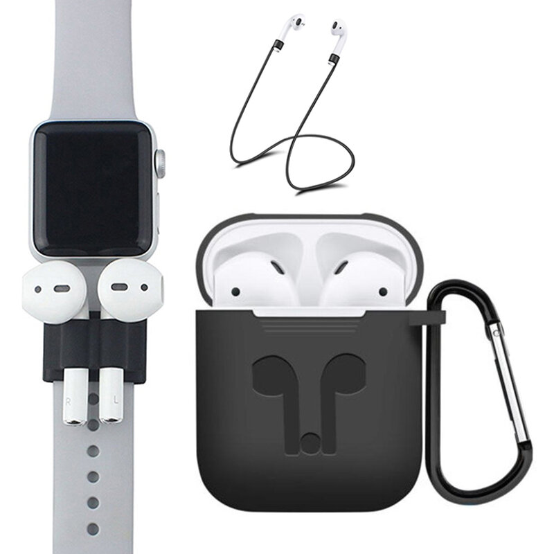 more photos 1fd62 baf76 Bakeey 5 Accessories Silicone Case Anti Lost Strap Eartips Carabiner Buckle  for Apple AirPods Earphone