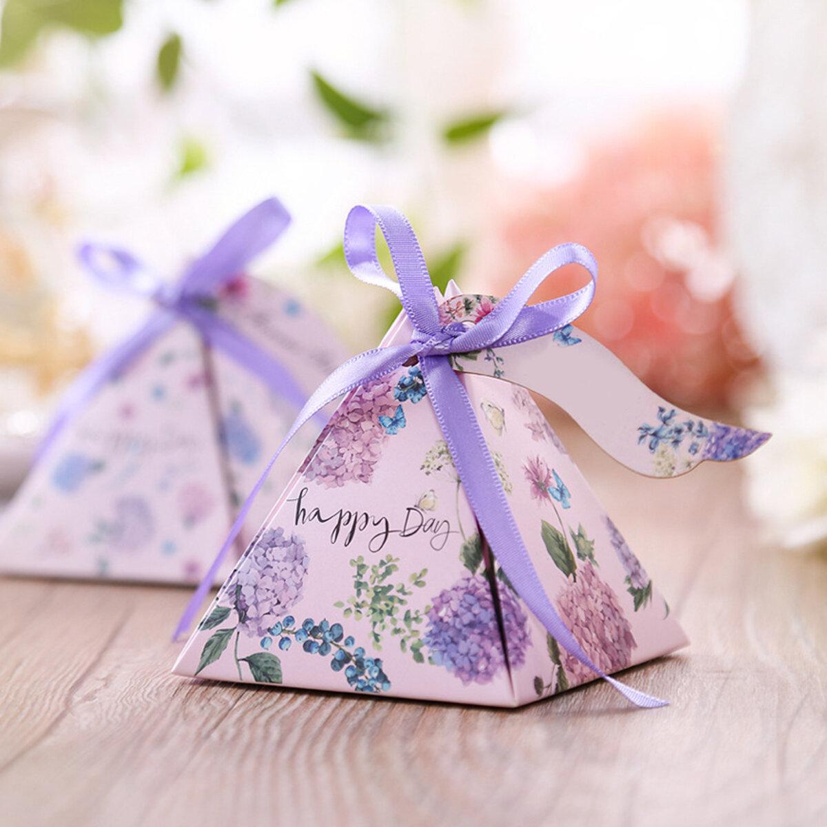 50 UNIDS Flor de Primavera Cajas de Dulces de Papel Boda Decoraciones de Fiesta Favor Cajas Dulces Bolsa Etiquetas Cintas