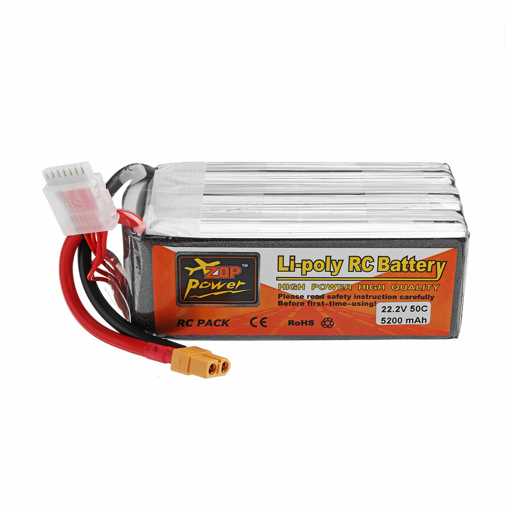 ZOP POWER 22 2V 5200mAh 50C 6S Lipo Battery With XT60 Plug For RC Models