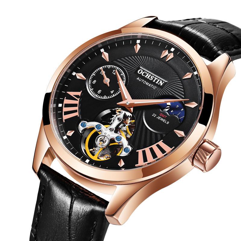 89b860a170 OCHSTIN GA6120 Luminous Display Moon Phase Automatic Mechanical Watch Full  Steel Men Watch - Rose Gold Case+Black COD