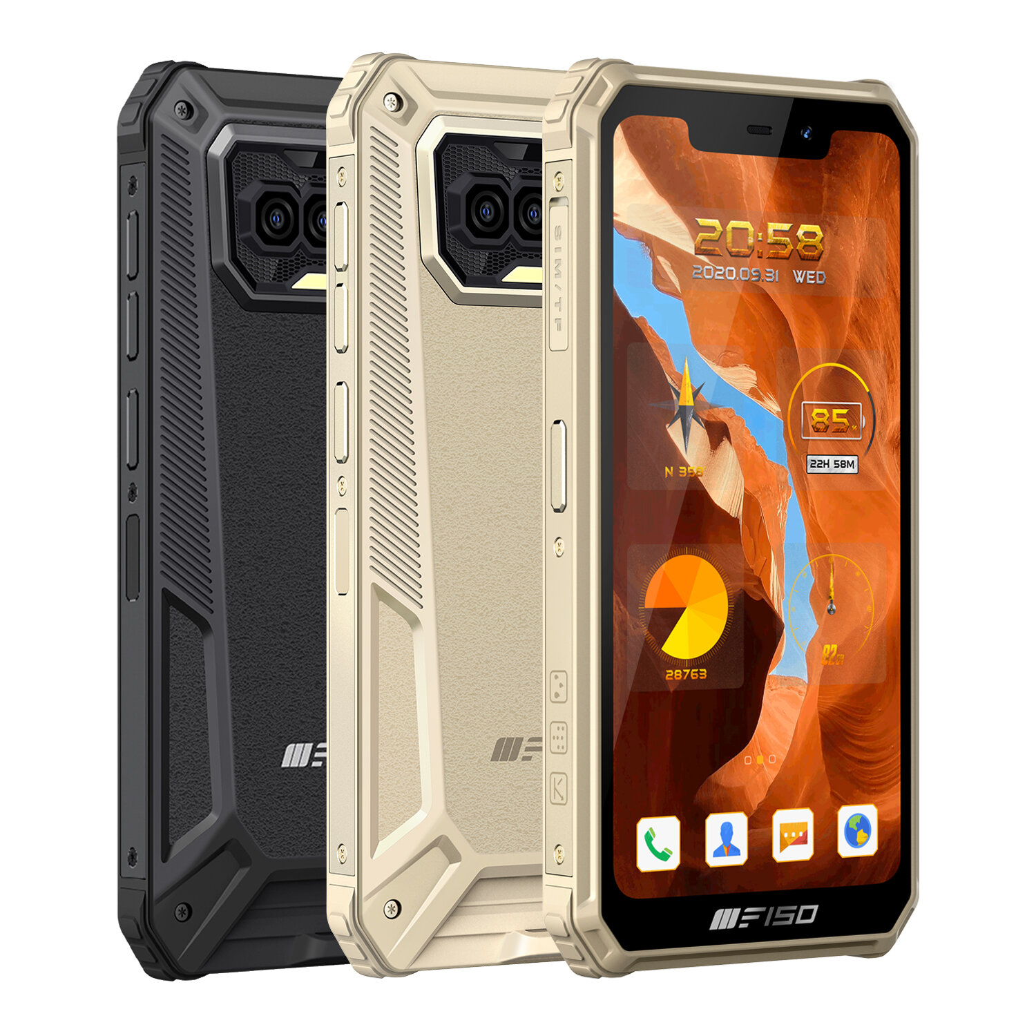 F150 B2021 Global Version 6GB 64GB Helio G25 NFC 8000mAh 5.86 inch HD+ IP68&IP69K Waterproof Android 10 13MP Quad Rear Camera 4G Smartphone