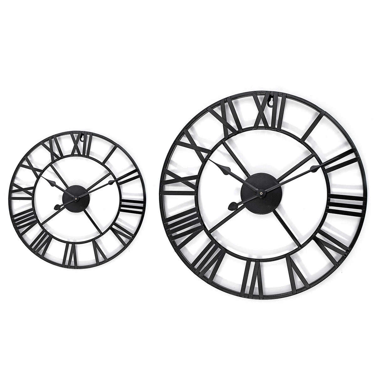40 60cm Large Metal Skeleton Roman Numeral Wall Clock Black Round Shape