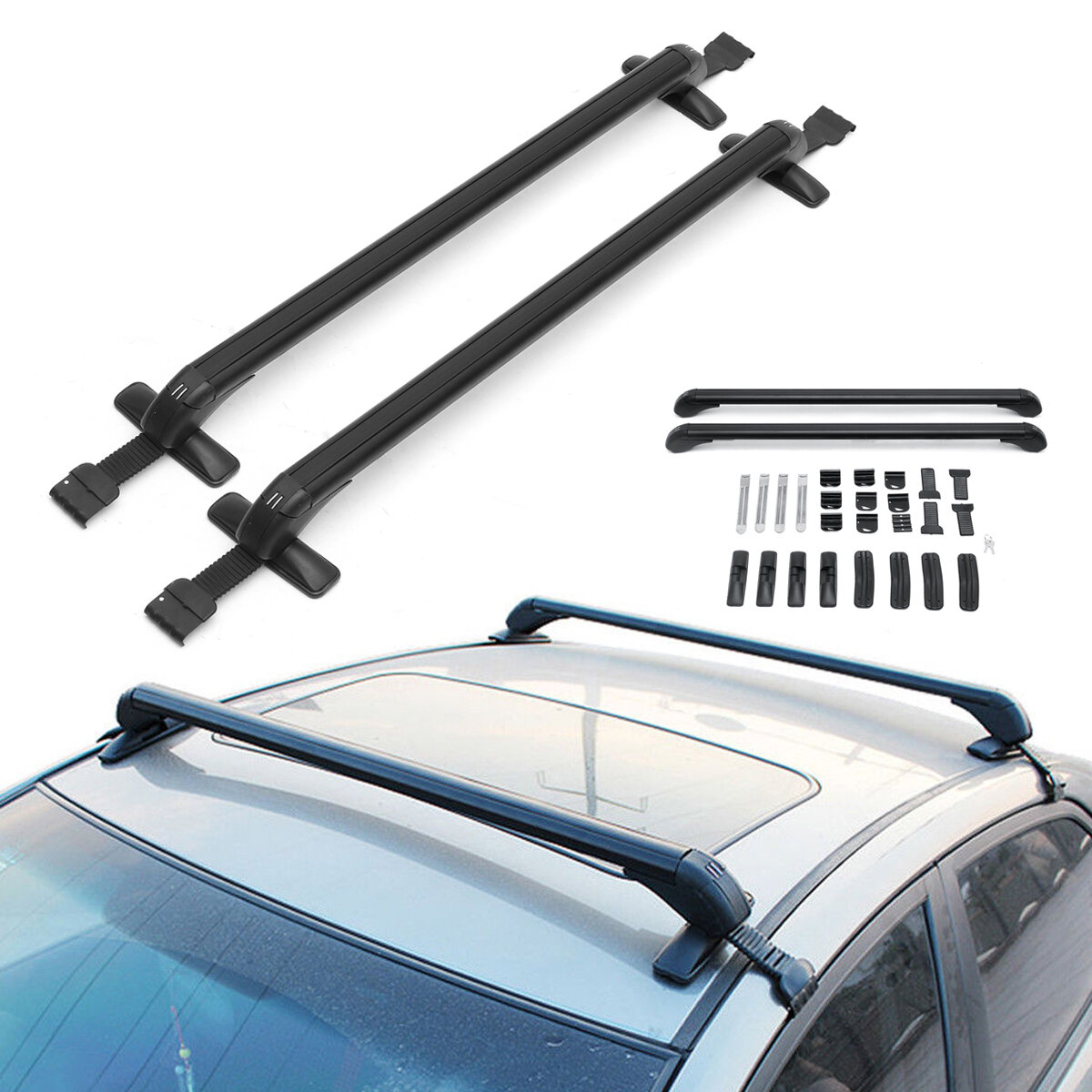 105cm Anti Theft Lock Car Roof Bars Without Rails Lockable Rack Luggage Carrier