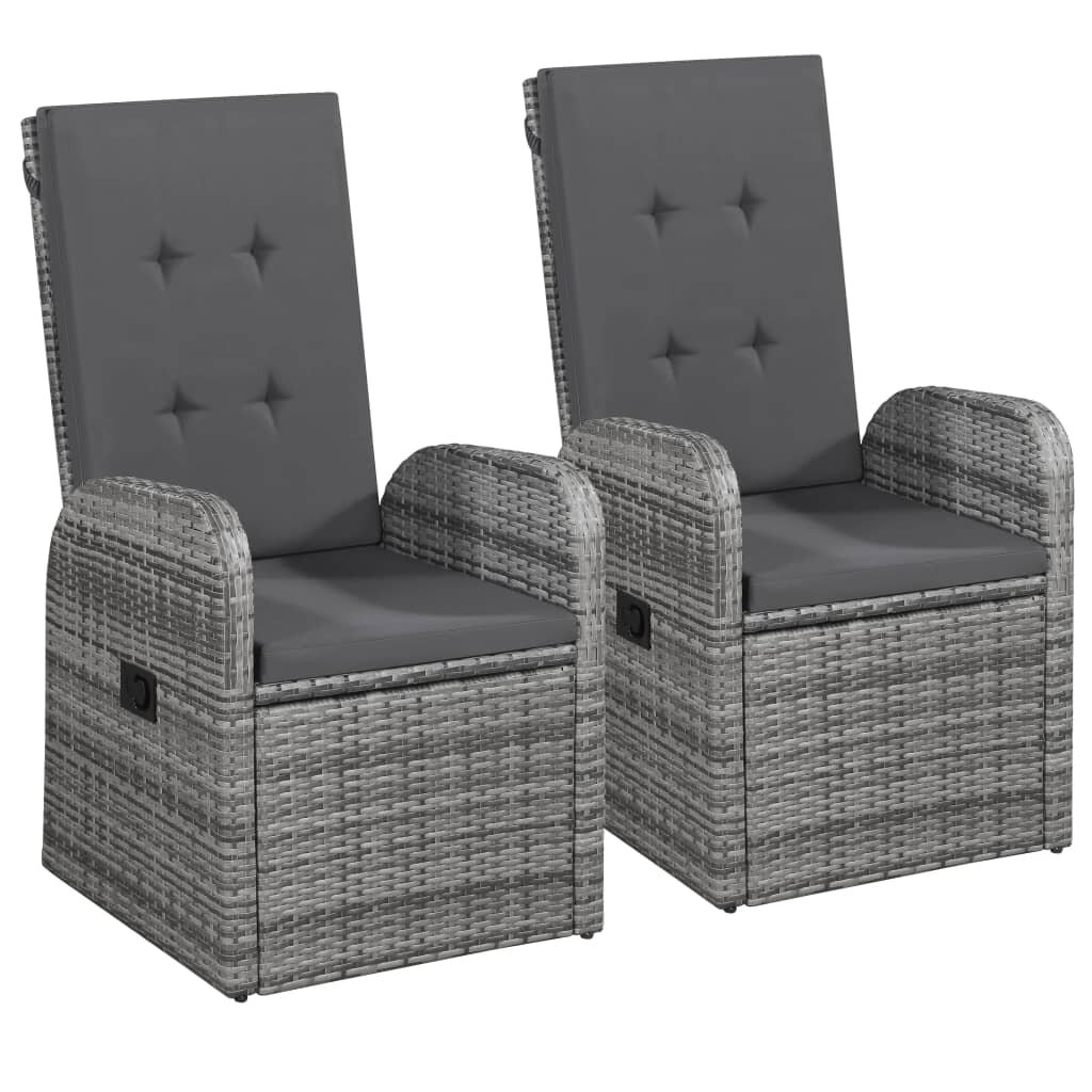 Reclining Garden Chairs 2 pcs with Cushions Poly Rattan Gray