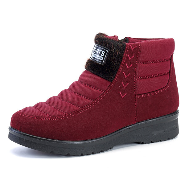 Cotton Shoes Zipper Warmy Ankle Snow Boots For Women