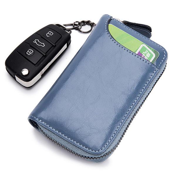 Women Men Genuine Leather Car Key Package Card Holder Clutch Bag