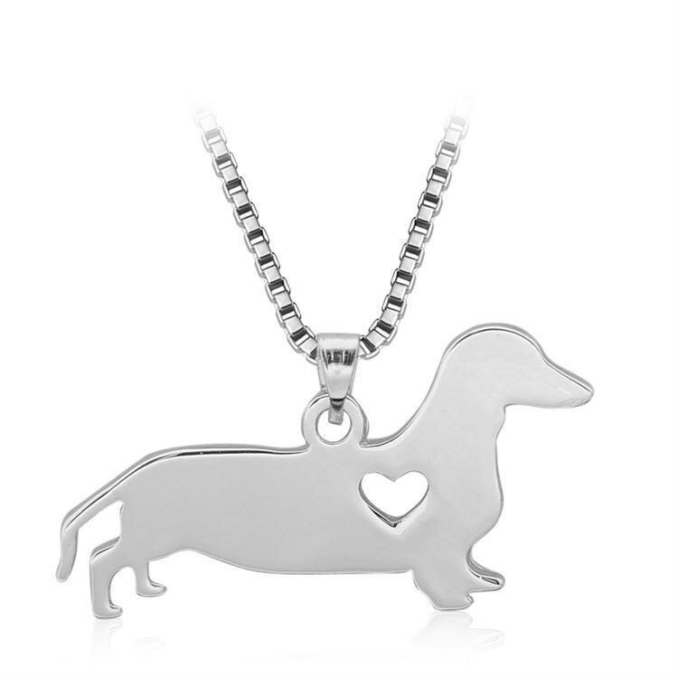 Silver Love Perro Corazón Colgante encanto Mujer Cadena de collar