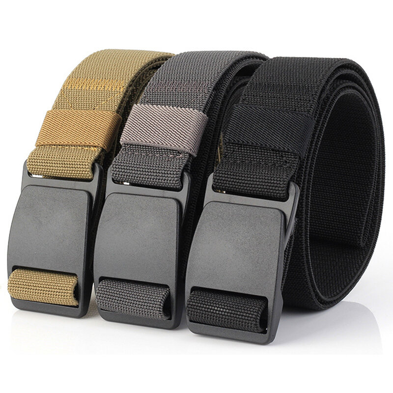 Military Security Belts Elastic Weave Stretch Thick Tactical Nylon Waist Belt