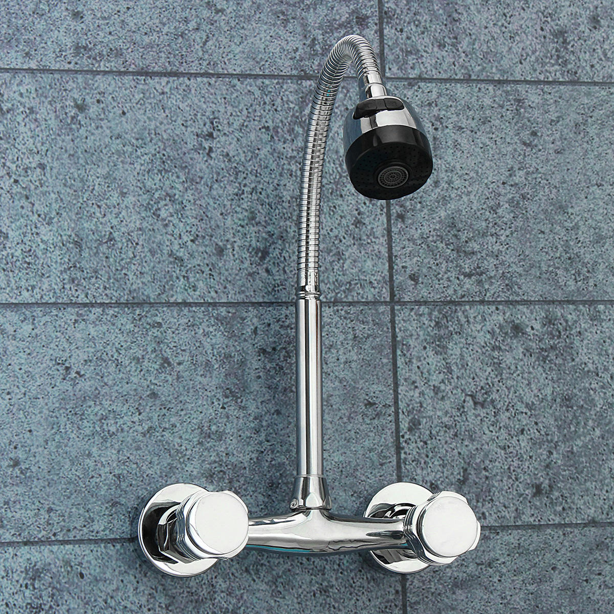 Chrome Basin Sink Mixer Tap Dual Handle Hot Cold Water Faucet Adjustable Swivel Spout Kitchen фото