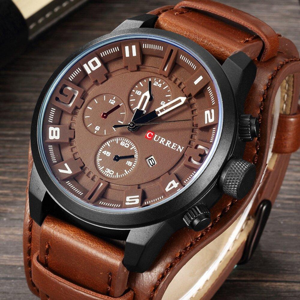 CURREN 8225 Fashion Mænd Quartz Armbåndsur Creative Læderrem Sports Watch