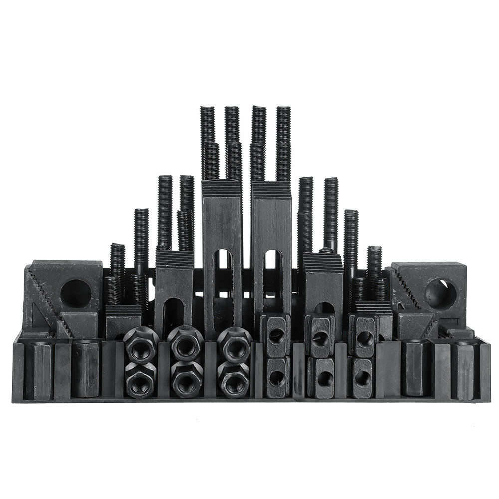 58pcs Clamping Tools Kit For Milling / Drilling M12 Studs 14mm Slot Step Block Set