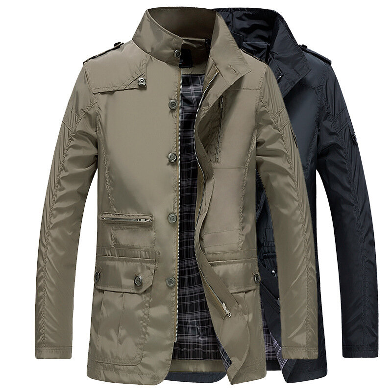 Mens Water Repellent Windproof Stand Collar Jacket Solid Color Trench Coat