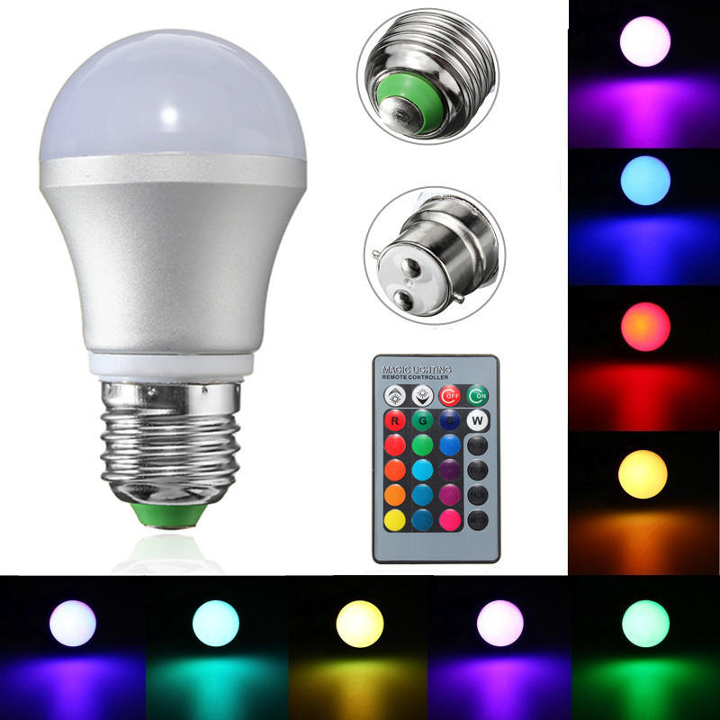 E27 B22 3w Dimmable Rgb Led Light Color Changing Bulb Remote Control Ac85 265v Cod