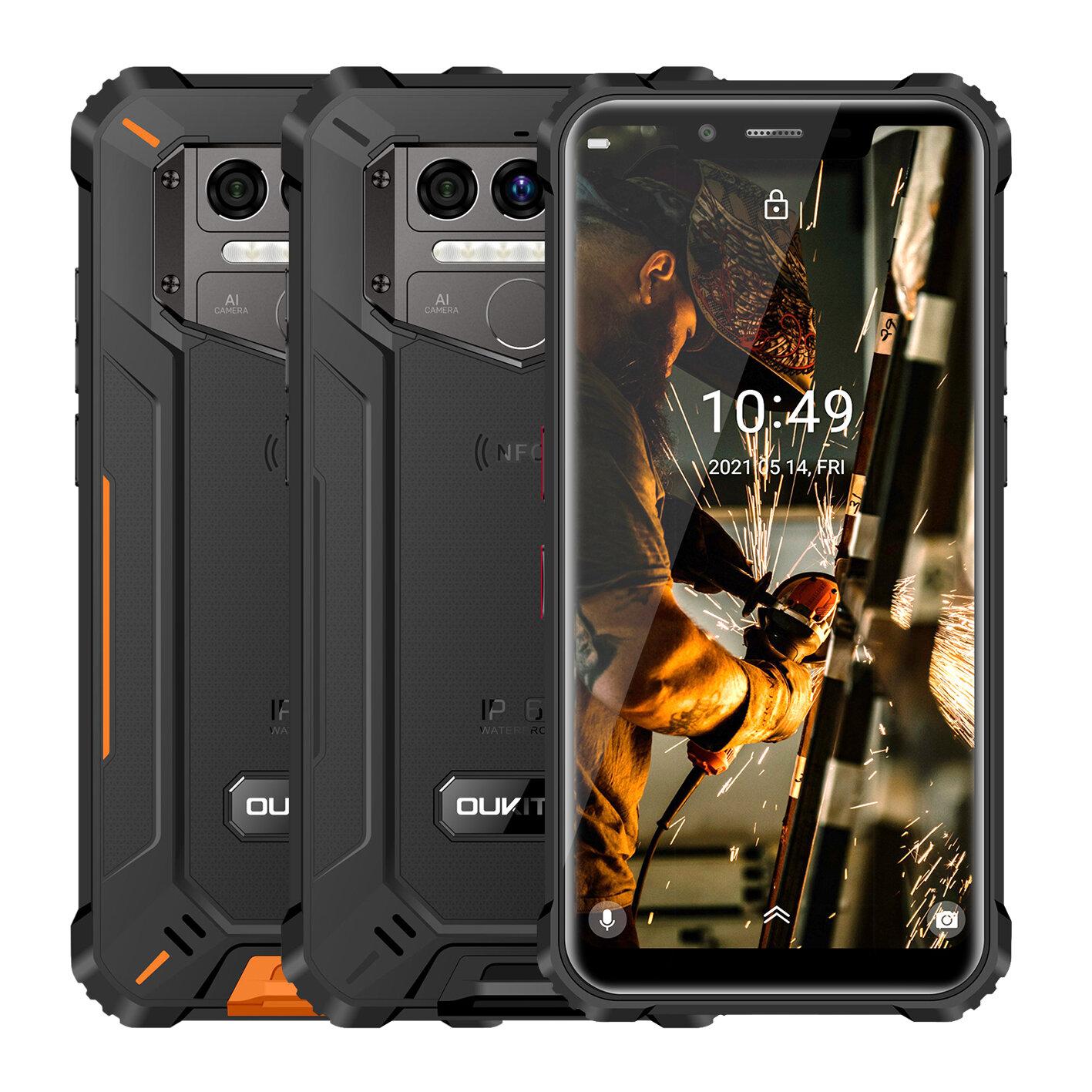 OUKITEL WP9 Global Bands IP68&IP69K Waterproof 6GB 128GB NFC 8000mAh 5.86 inch 16MP Triple Rear Camera Helio P60 4G Smartphone