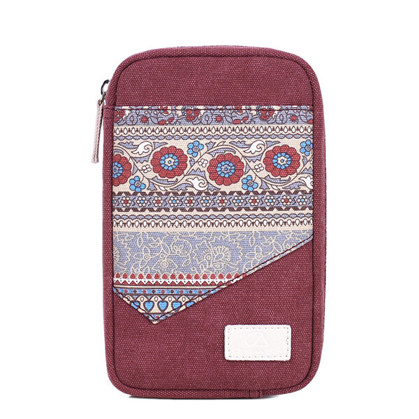 Women Canvas Data Line Storage Bag National Style Personality Clutch Bags