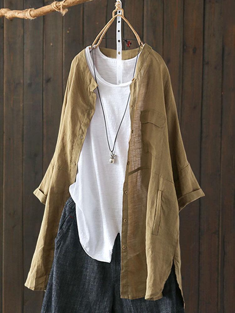 S-5XL Women Long Sleeve Button Down Cotton Asymmetric Vintage Blouse