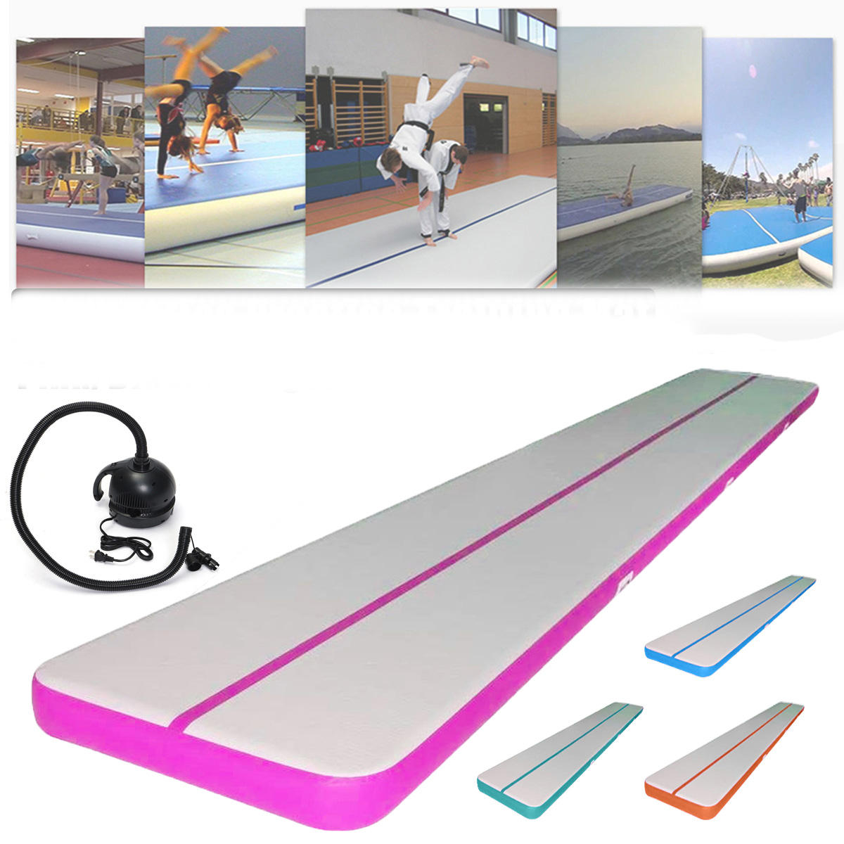 157.4x39.3x3.9inch Inflatable GYM Air Track Mat GYM Practice Mat Tumbling Training Airtrack Gymnastics Mat With 220v Air Pump