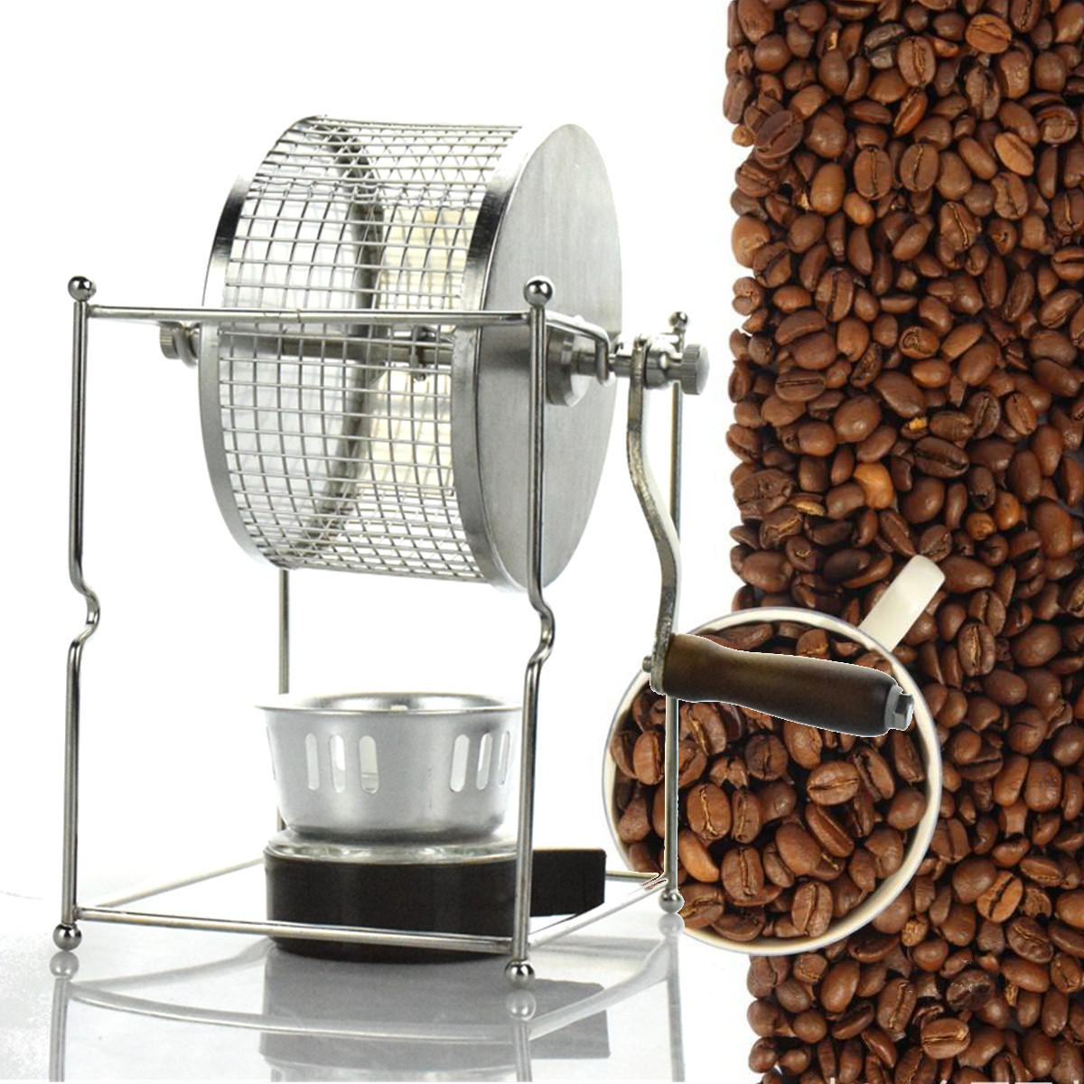 HOT new  Manual Stainless Steel Coffee Beans Roaster Machine HOME Kitchen TOOL