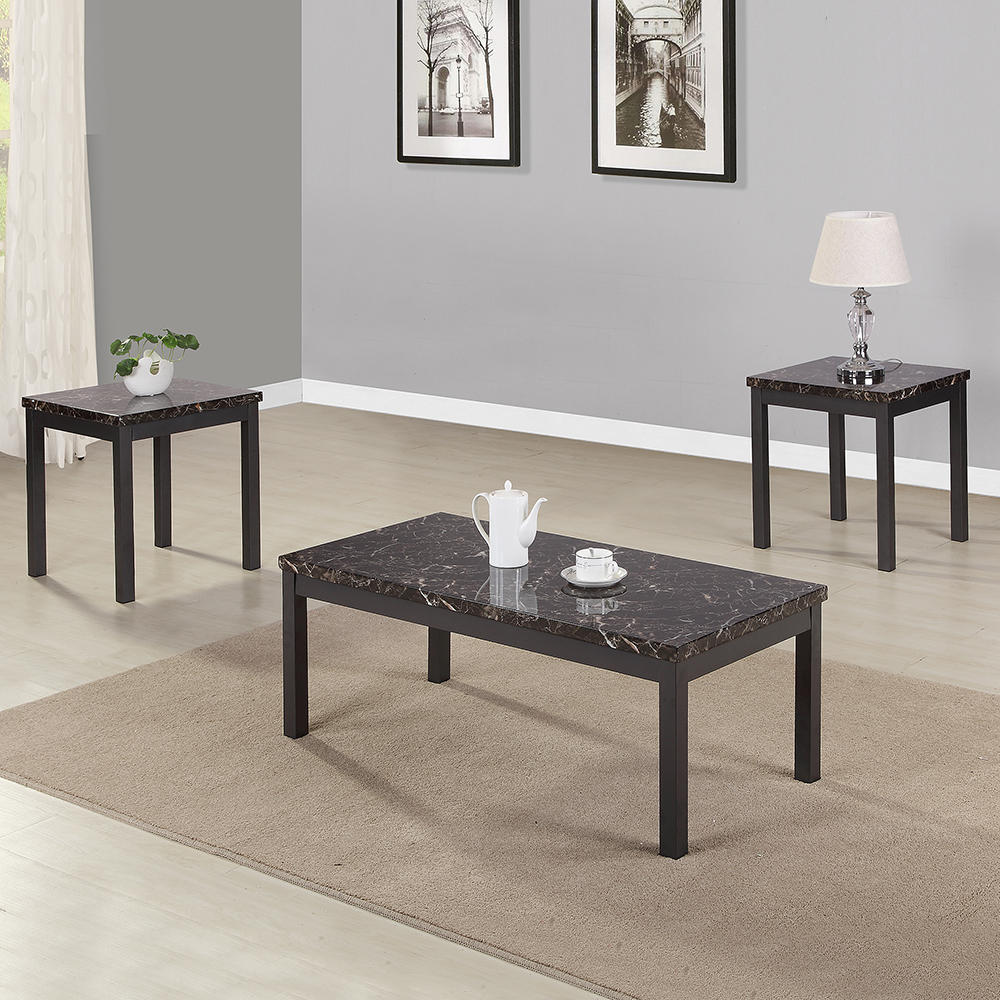 Cool 3 Piece Modern Faux Marble Coffee And Tea End Table Set With Metal Legs And Apron Living Room Furniture Caraccident5 Cool Chair Designs And Ideas Caraccident5Info