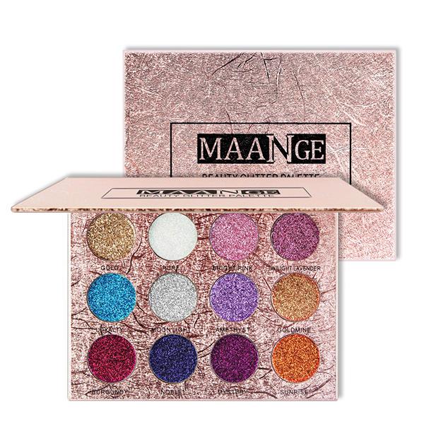 12 färger Glitter Ögonskugga Diamantpressad Gyllene Glänsande Skimning Ögonskugga