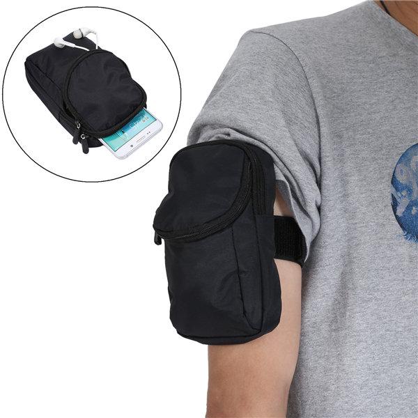 Deporte de múltiples capas de la capa doble que funciona con el bolso ajustable del brazo del bolso de la cintura para el teléfono debajo de 6.3 pulgadas
